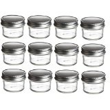 Nakpunar Mason Glass Jars 4 oz - Set of 12 - Silver Lids