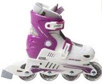 Xcess MX-S780 Girls Adjustable Inline Skates White/Lilac Jnr9-11