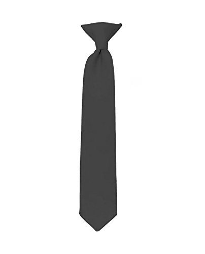 NYfashion101 Boy's Solid Clip on Tie- Charcoal Gray