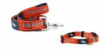 Denver Broncos Pet Set Dog Leash Collar ID Tag LARGE by Hunter
