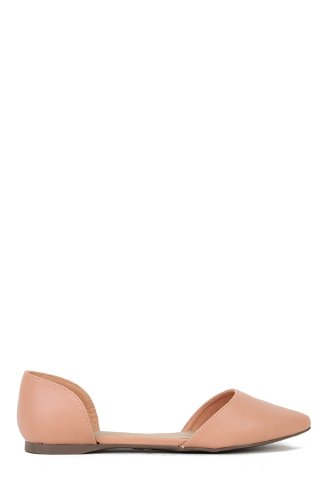 Breckelles Dolley-22 Leatherette Pointy Toe Flat - Nude PU
