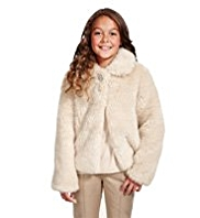 Autograph 1 Button Faux Fur Coat