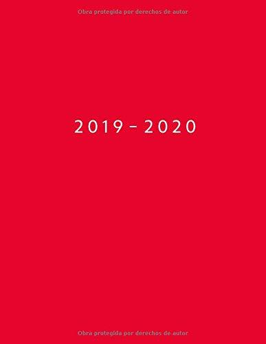 Agenda MAYO 2019 - ABRIL 2020 Vista Semanal con Horario | 1 Semana en 2 Páginas | 12 Meses Planificador y Calendario | 21.59x27.94 cm | 8.5x11 | Rojo  [Tu Día Planner] (Tapa Blanda)