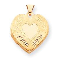 14k Satin Finish Heart Locket - Measures 22x22mm - JewelryWeb