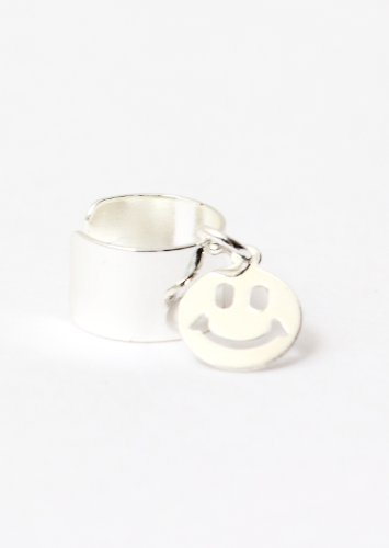 Tiny Smiley Face Ear Cuff Wrap Dangling Silver Tone Earring Fashion Jewelry