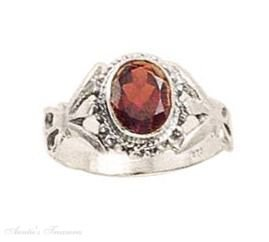 Sterling Silver Solitaire Oval Garnet Ring Size 6