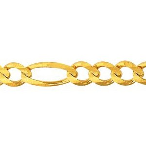 10K Solid Yellow Gold Figaro Chain Necklace 7mm thick 24 Inches