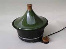 Electric Ceramic Tagine Green With Cast Iron Bowl from Netherton Foundry Shropshire