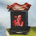 """Electric Essential Oils Fragrance Oils Diffuser Burner W/ Free One Bottle(1/2 Fl.Oz) Random Fragrance Oil- Wooden Chinese Character (Luck/Love), Red Design And Gorgeous Waterwave Glass Top,35 Watt Halogen Bulb With Touch Dimmer Switch , 5 1/4"""" H, The Most"""