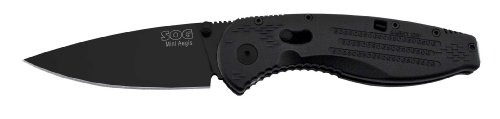 SOG Specialty Knives & Tools AE22-CP Aegis Mini Knife with Straight Edge Assisted Folding 3-Inch AUS-8 Steel Blade and GRN