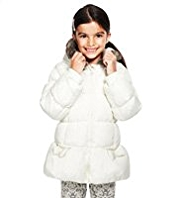 Autograph Hooded Faux Fur Trim Padded Jacket