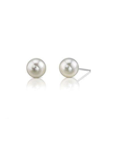 6.5-7.0mm White Akoya Pearl Stud Earrings