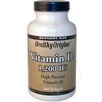 Healthy Origins Vitamin D D3 1,200 IU x 360 Softgels