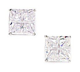 14k White Gold 7mm Square Segmented CZ Screwback Earrings