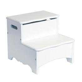 Guidecraft Kids Home Office Living Room Classic White Storage Step Up Stool from Guidecraft
