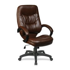 Lorell High-Back Executive Chair, 26-1/2 by 28-1/2 by 46-1/2-Inch, Brown/Black