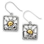 Silver accented gold plating Antiqued Earrings