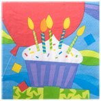 """Cupcake """"Happy Birthday"""" Paper Lunch Napkins, 13"""" (2 Pack 40 Napkins Total)"""