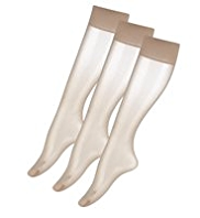 3 Pairs of 10 Denier Matt Ladder Resist Knee Highs