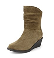 Footglove™ Suede Ruched Wedge Ankle Boots with Stretch Zip