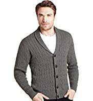 "2"" Longer Blue Harbour Pure Cotton Shawl Collar Cable Knit Cardigan"