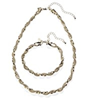 M&S Collection Gold Plated Regal Twist Necklace & Bracelet Set