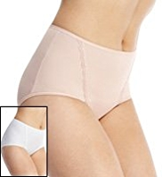 2 Pack Lace Trim Low Leg Knickers