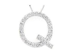 Alphabet Q Diamond Initial Pendant in 14k White Gold