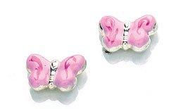 Silver enamelled pink butterfly children's stud earrings