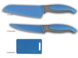 Oster Stylish Craft Cutlery Set With Cutting Board (3 Pieces-Blue)