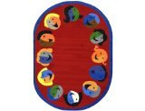 "Joy Carpets Kid Essentials Early Childhood Oval Joyful Faces Rug, Red, 5'4"" x 7'8"""
