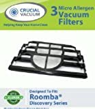 3-pack Filter Kit Fits iRobot Roomba Discovery Series Vacuum Cleaners; Compare to Roomba Part# 4910, VP-RM400-3FLT, VPRM4003FLT ; Designed & Engineered by Crucial Vacuum