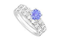 Tanzanite and Diamond Engagement Ring with Wedding Band Set : 14K White Gold - 0.50 CT TGW