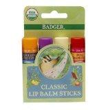 Badger Classic Lip Balm Sticks, Tangerine, Lavender Orange, Vanilla, Grapefruit 4 pk