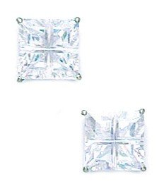 14k White Gold 7x7mm 4 Segment Square CZ Basket Set Earrings - JewelryWeb