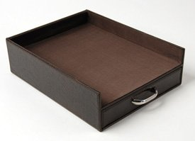Buy Faux Leather Document Tray With Drawer- Black