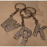 Diamante Initial Key Ring Silver with Diamantes - Bling Key Ring - A B C D E F G H I J K L M N O P R S T V W (H)