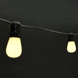 Commercial Edison String Lights, 50 White Bulbs, 100 Ft. Black Wire
