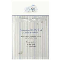 BLUE ELEPEHANT & TEDDY BEAR Baby Boy Birth Announcement Card Kit (50 Count)