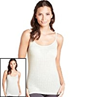 2 Pack Scoop Neck Pointelle Thermal Camisole