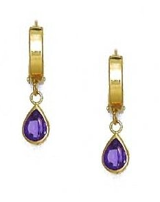 14ct Yellow Gold 7x5 mm Pear Alexandrite-Pink CZ Drop Earrings
