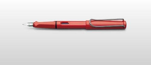Lamy - Stylo Plume Safari Rouge Brillant, Plume Acier de Taille EF, Livré en Ecrin Lamy.