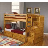 Big Sale Full Size Bunk Bed with Stairway Chest in Amber Wash Finish