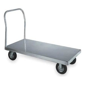Wesco 350055 Smooth Deck Aluminum Platform Truck, Moldon Rubber Wheels, 2000 lbs Load Capacity, 41-1/2