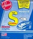 Hoover Type S Allergen Filter Bag, 4010100S