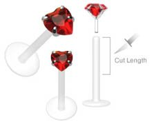 Red Swarovski Heart Flex Flexible Labret Monroe body jewelry piercing lip Ring