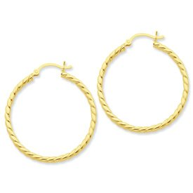 Genuine IceCarats Designer Jewelry Gift Sterling Silver Gold-Flashed Twisted 35Mm Hoop Earrings
