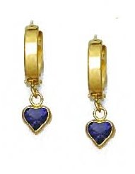 14ct Yellow Gold 5 mm Heart Purple CZ Drop Earrings