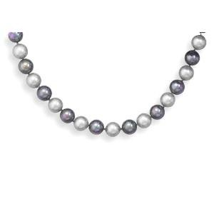 Black and Silver Shell Pearl Necklace 13mm Sterling Silver Adjustable Length - Made in the USA