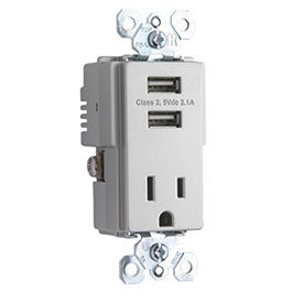 Pass And Seymour Trademaster Tamper-Resistant Receptacle With 2 Usb Ports, Titanium